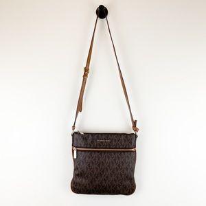 MMK Brown Signature Flat Crossbody Bag